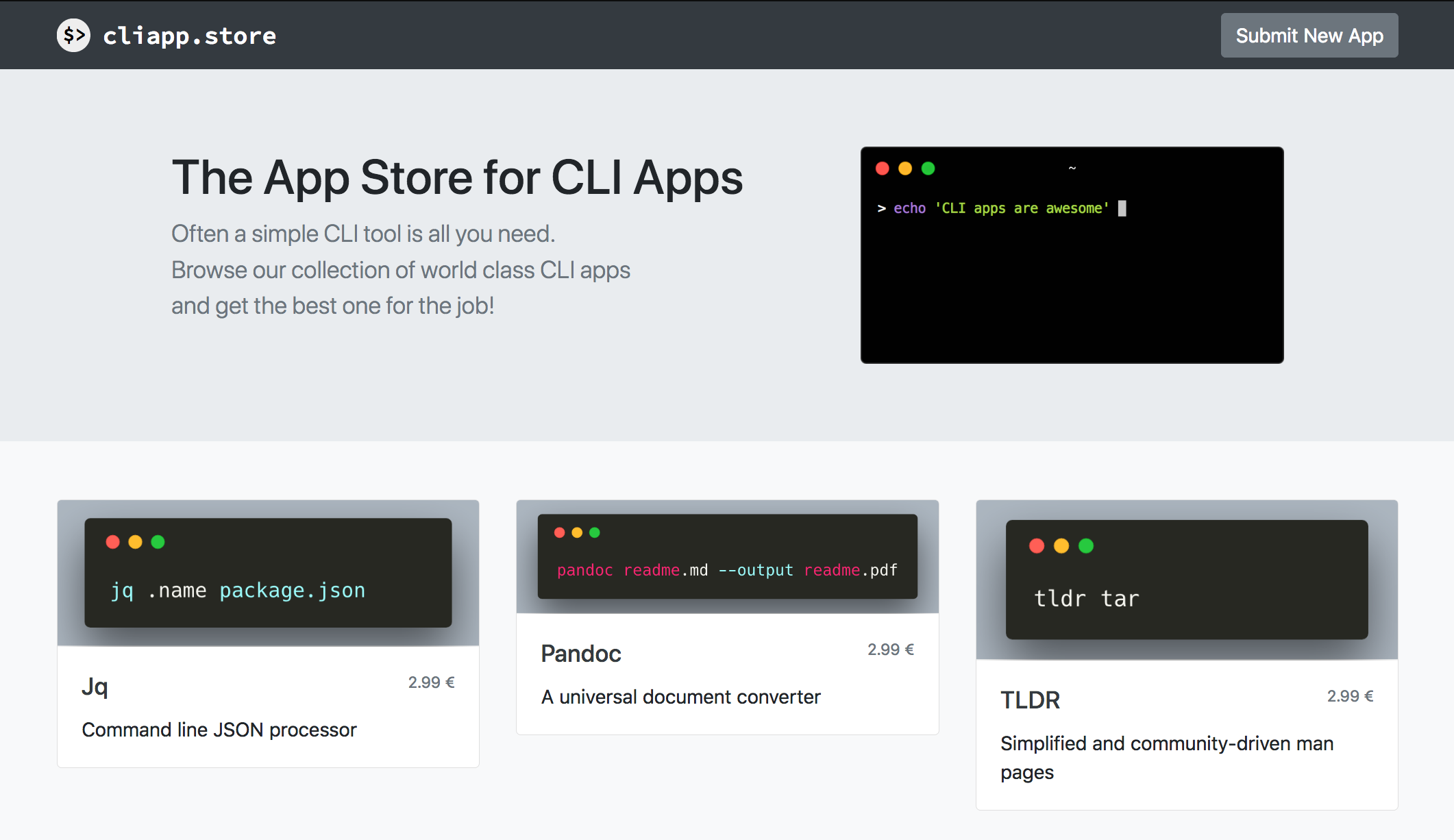 Screenshot of cliapp.store's landing page